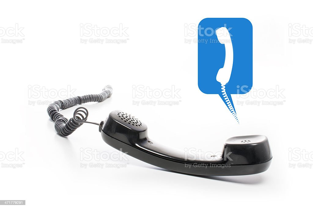black phone receiver with telephone textballoon royalty-free stock photo