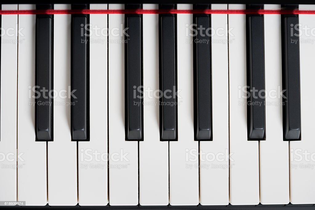 Black piano close-up stock photo