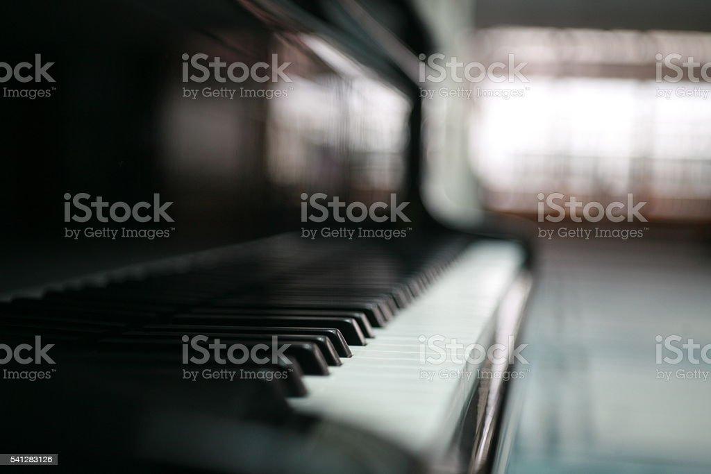 Black piano keys stock photo