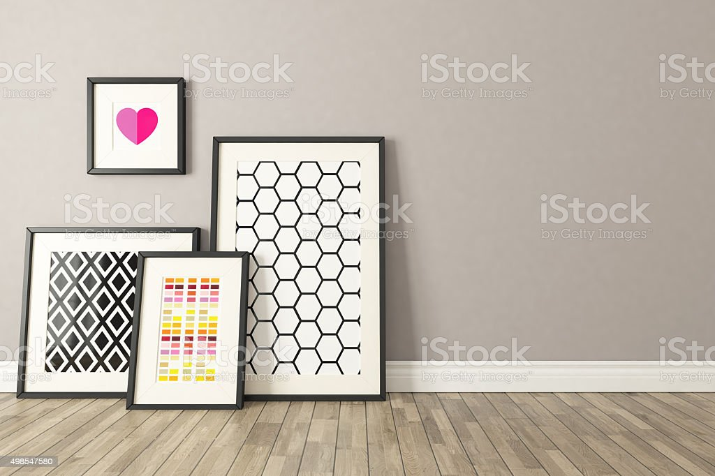 Black picture frames decor, background, template design stock photo