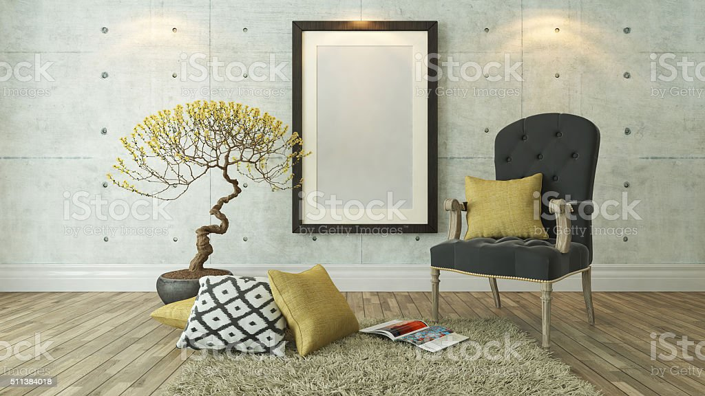 black picture frames with gray bergere stock photo