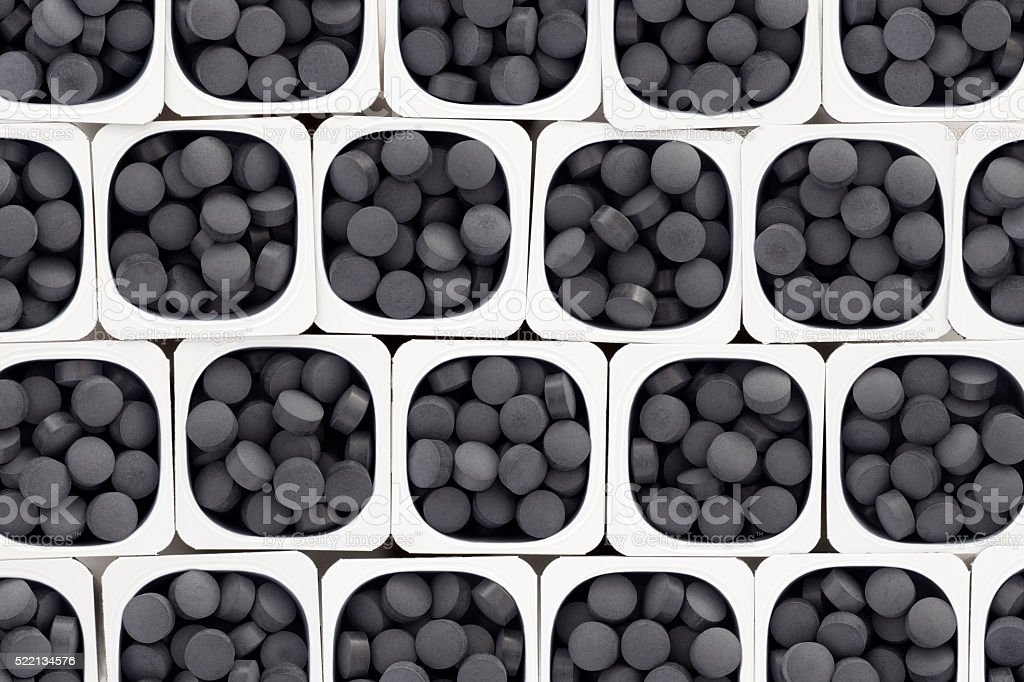 Black pills stock photo