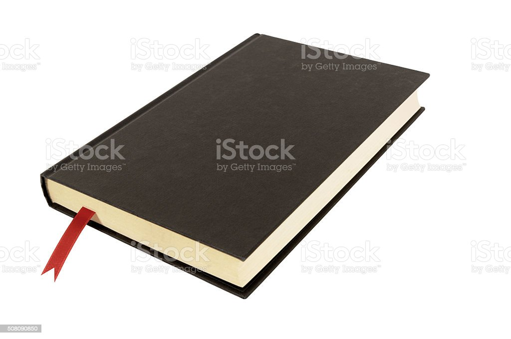 Black plain hardcover book or bible front cover red bookmark stock photo