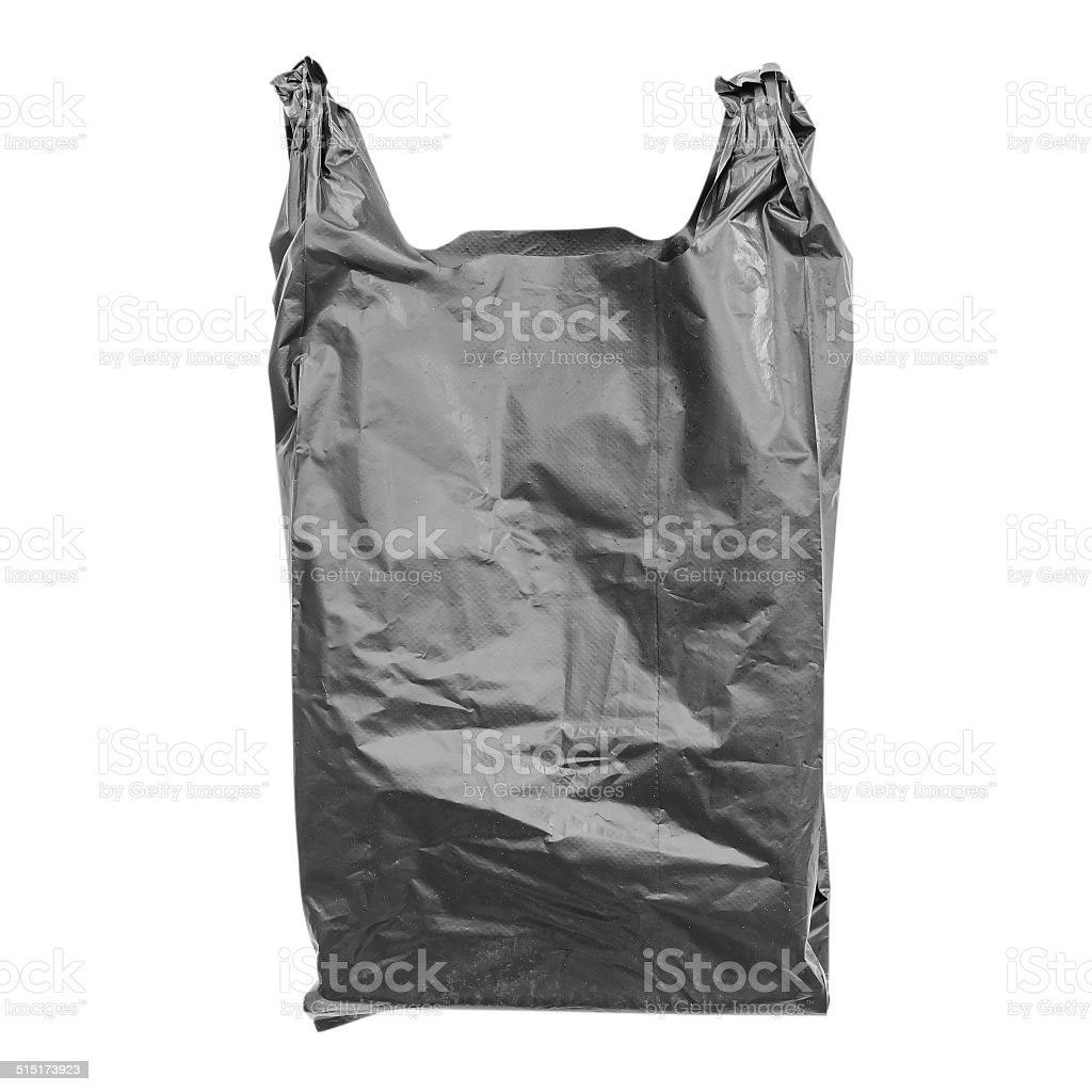 Black plastic bag isolated on white with clipping path. stock photo