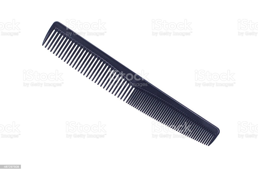 Black plastic comb isolated on white stock photo