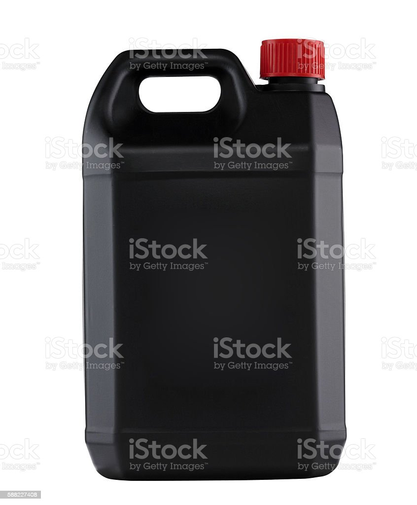 Black plastic gallon stock photo