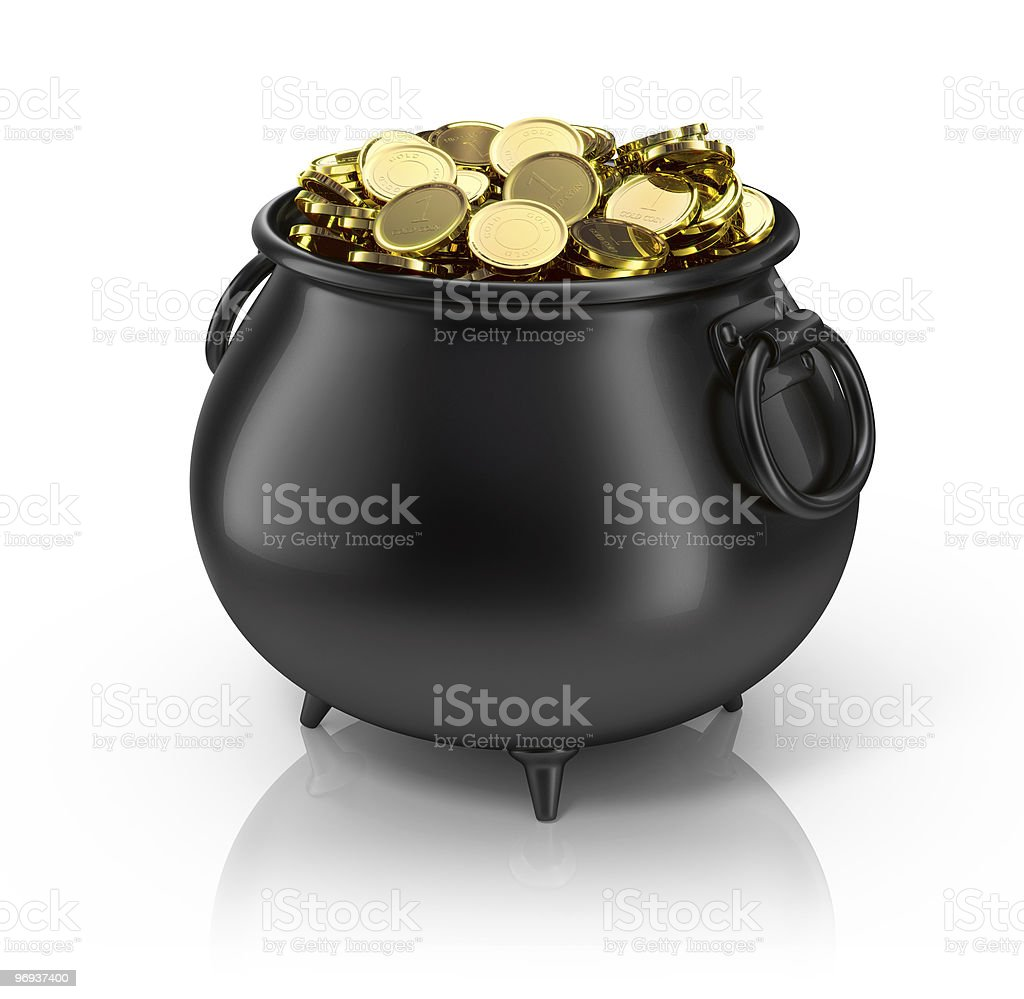 Black plastic pot filled with gold coins stock photo