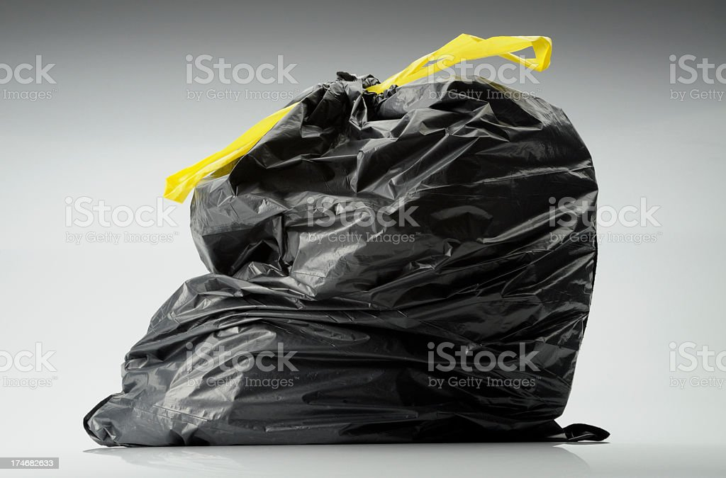 black plastic trash bag royalty-free stock photo
