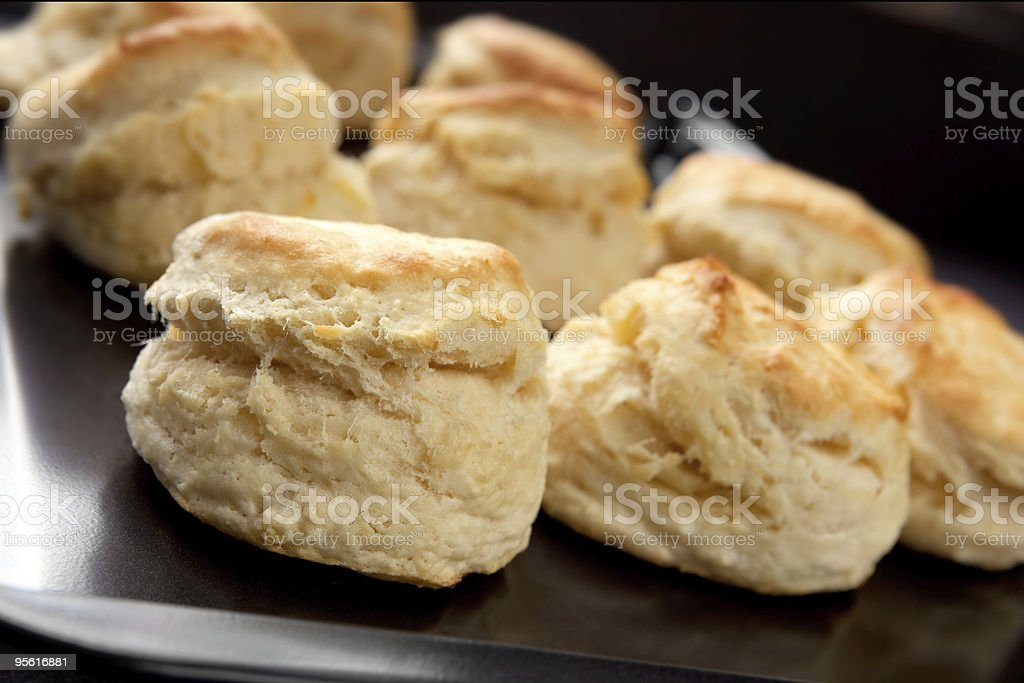 Black plate of freshly baked scones royalty-free stock photo
