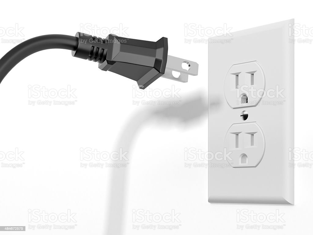 black plug and white socket stock photo