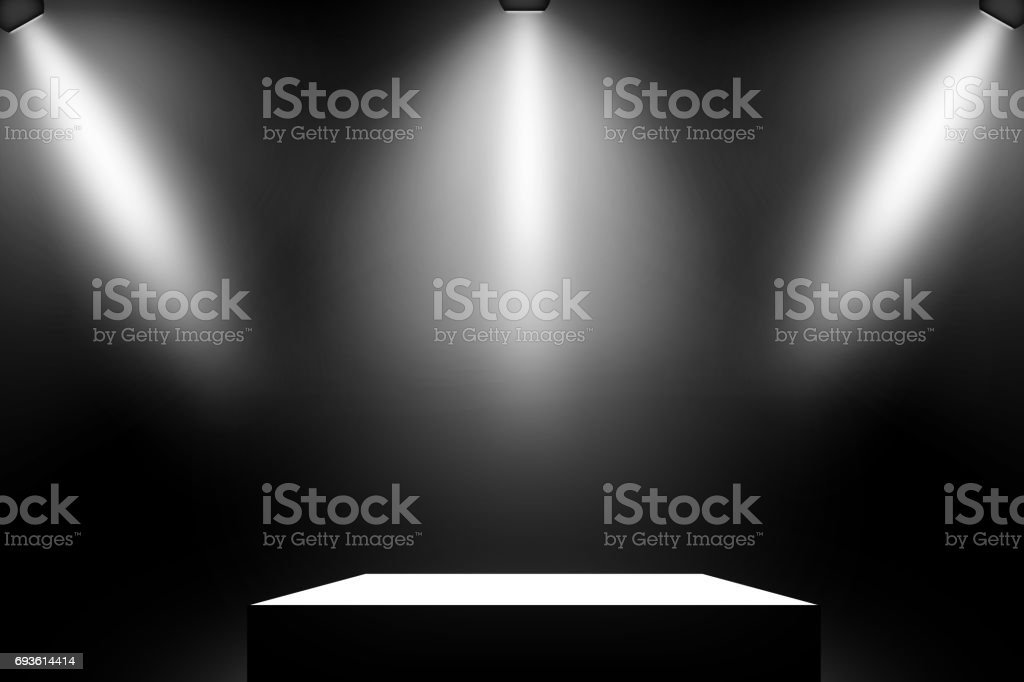 Black podium. Pedestal. Scene. Spotlight. stock photo