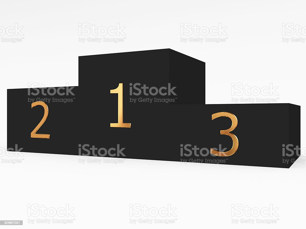 Black podium with golden place numbers royalty-free stock photo