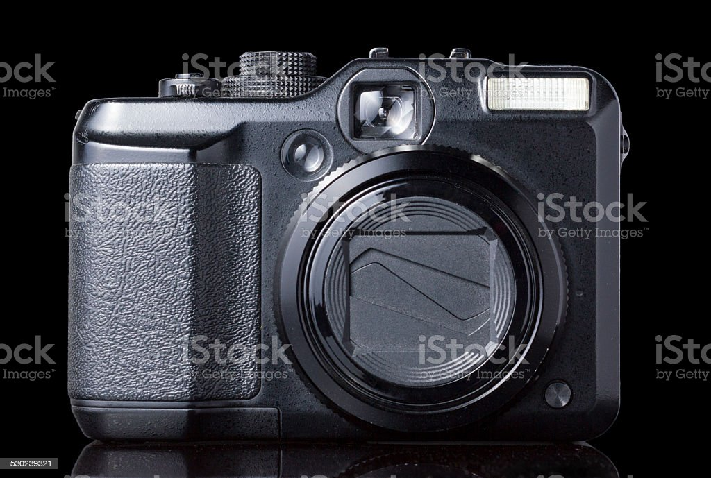 Black Point Shoot Camera on Black background Front View