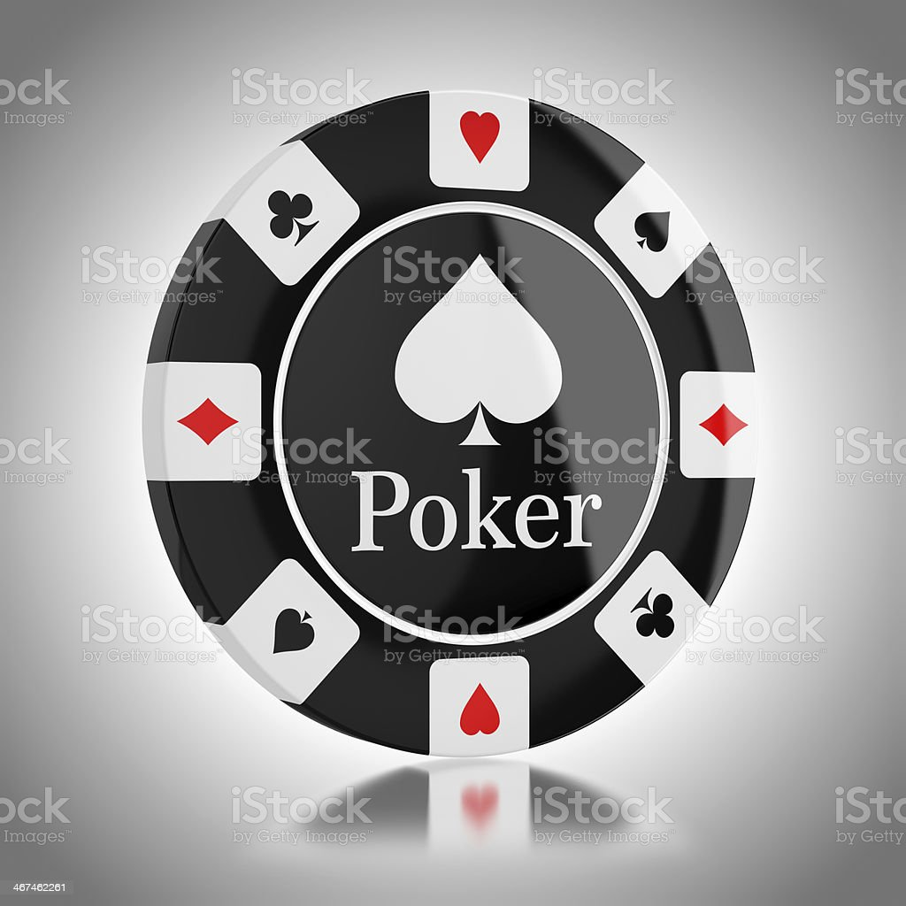 Black poker chip stock photo