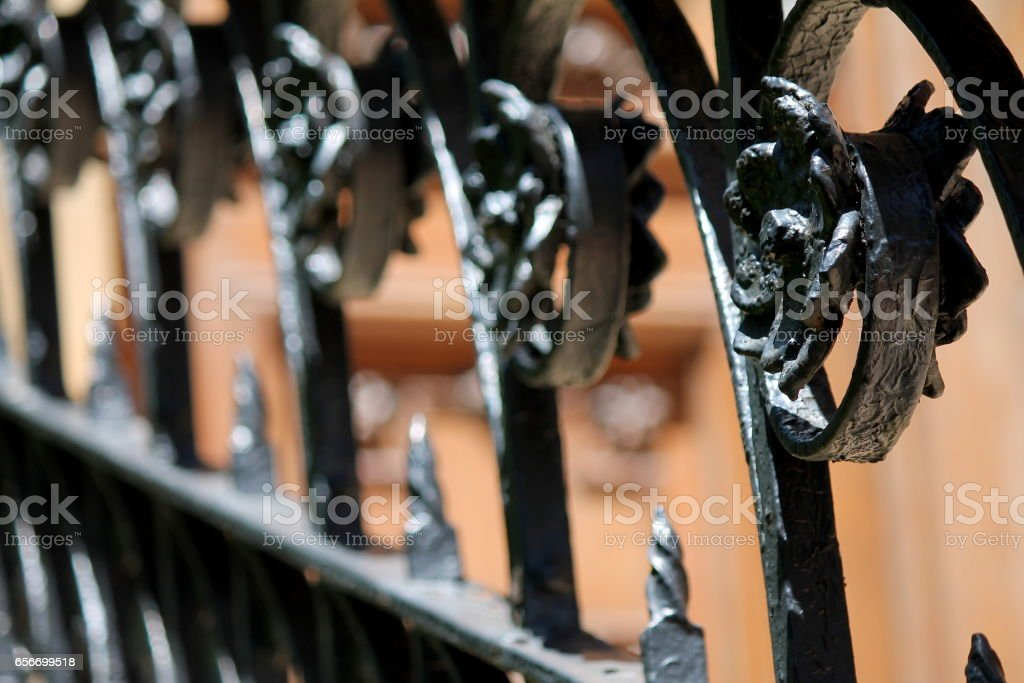Black Polished Scrolled Classic Iron Gate stock photo