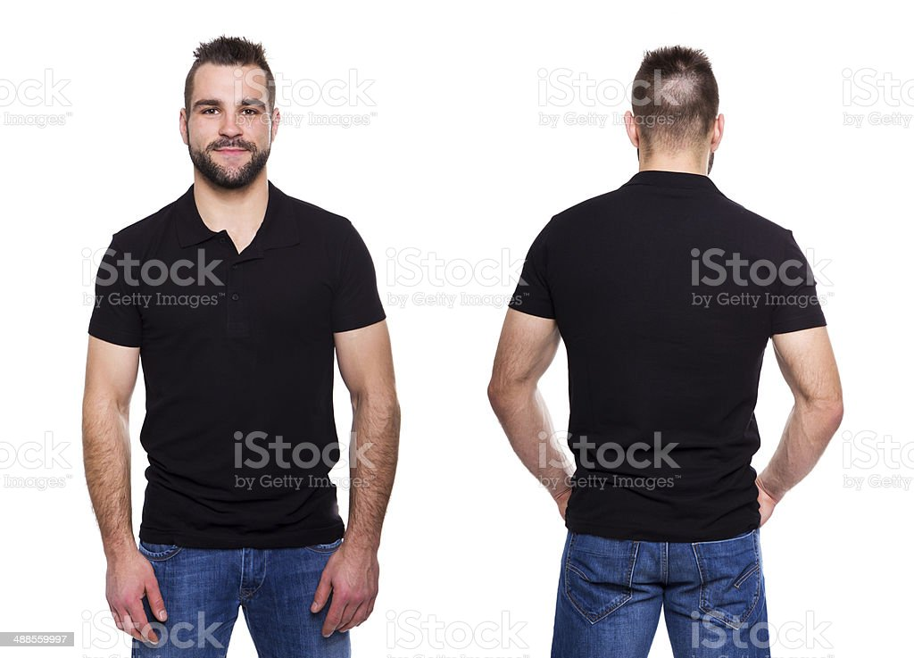 Black polo shirt with a collar on young man stock photo