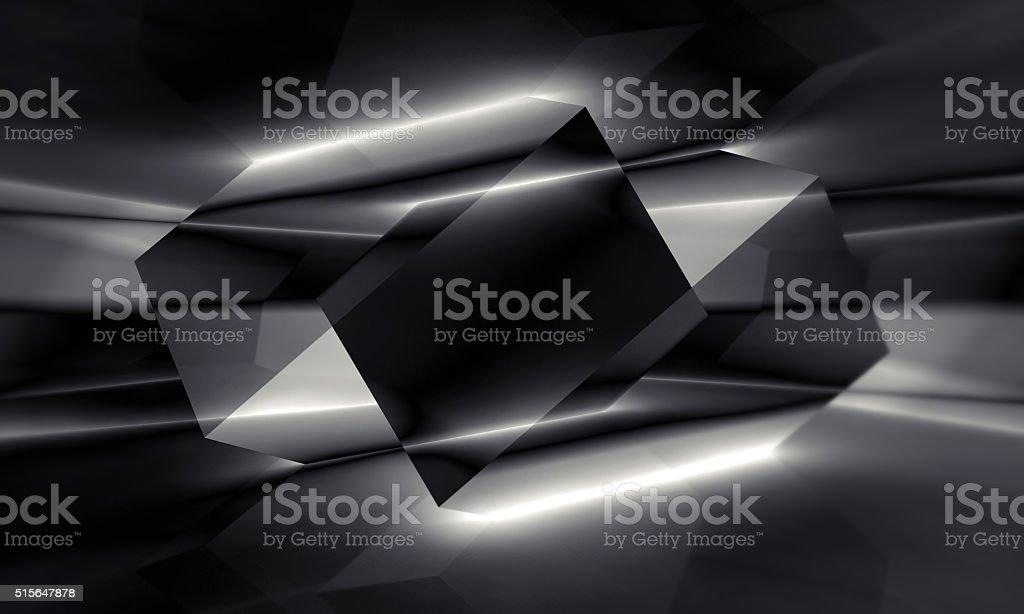 Black polygonal crystal structure, 3d illustration stock photo