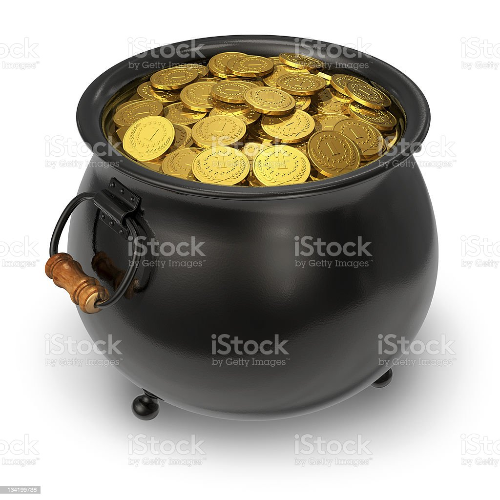 Black pot full of gold coins stock photo