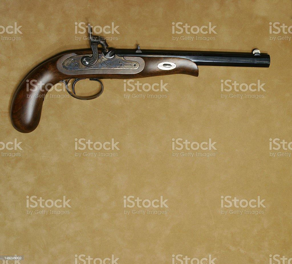 Black powder civil war replica pistol stock photo