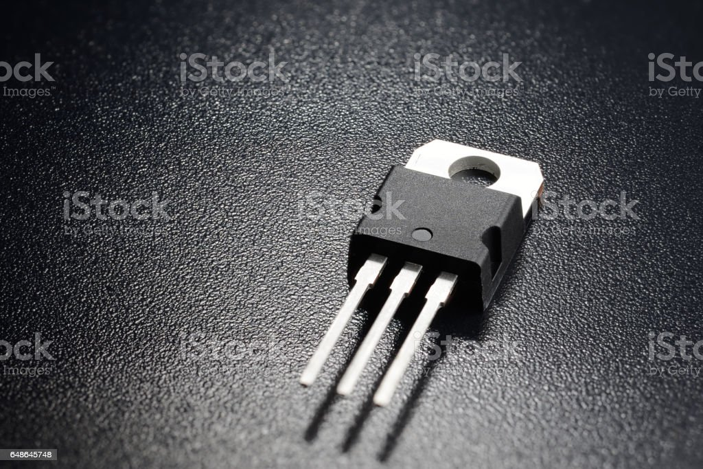 Black power transistor stock photo