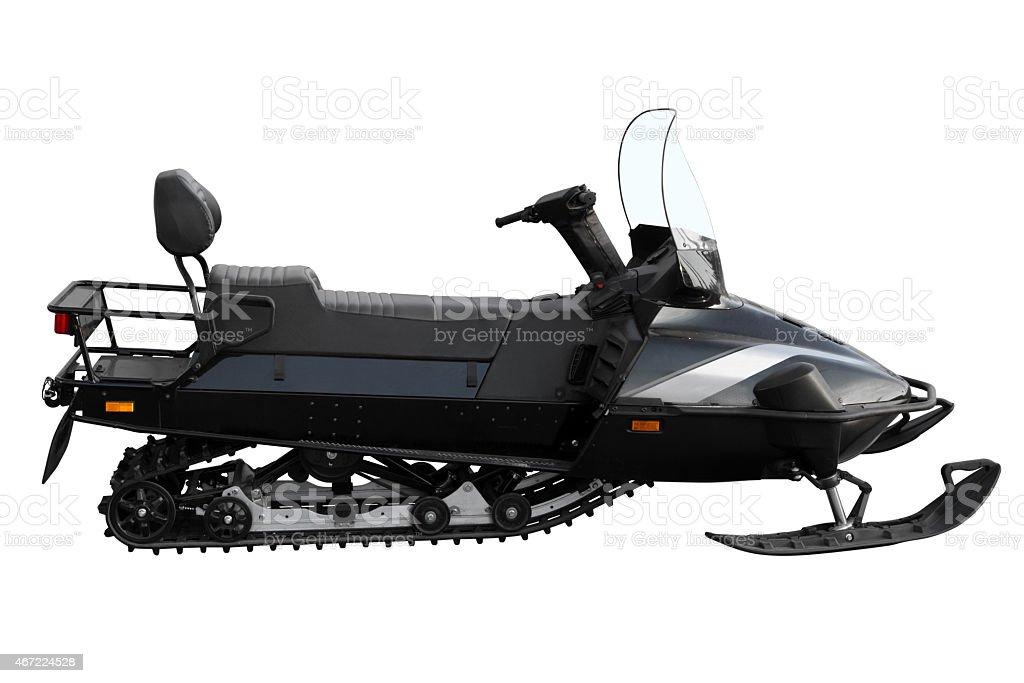 Black powerful snowmobile stock photo
