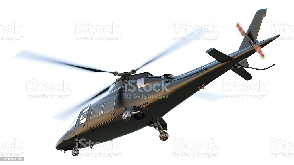 Black Private Helicopter. Isolated. Clipping Path. stock photo