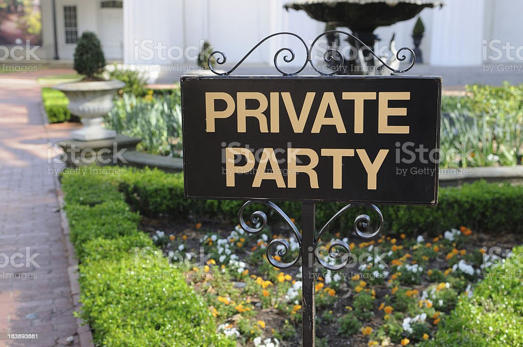 Black Private Party Sign in a Front of Building stock photo