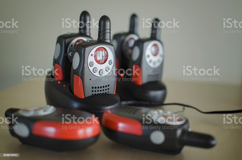 Black professional portable radio stock photo