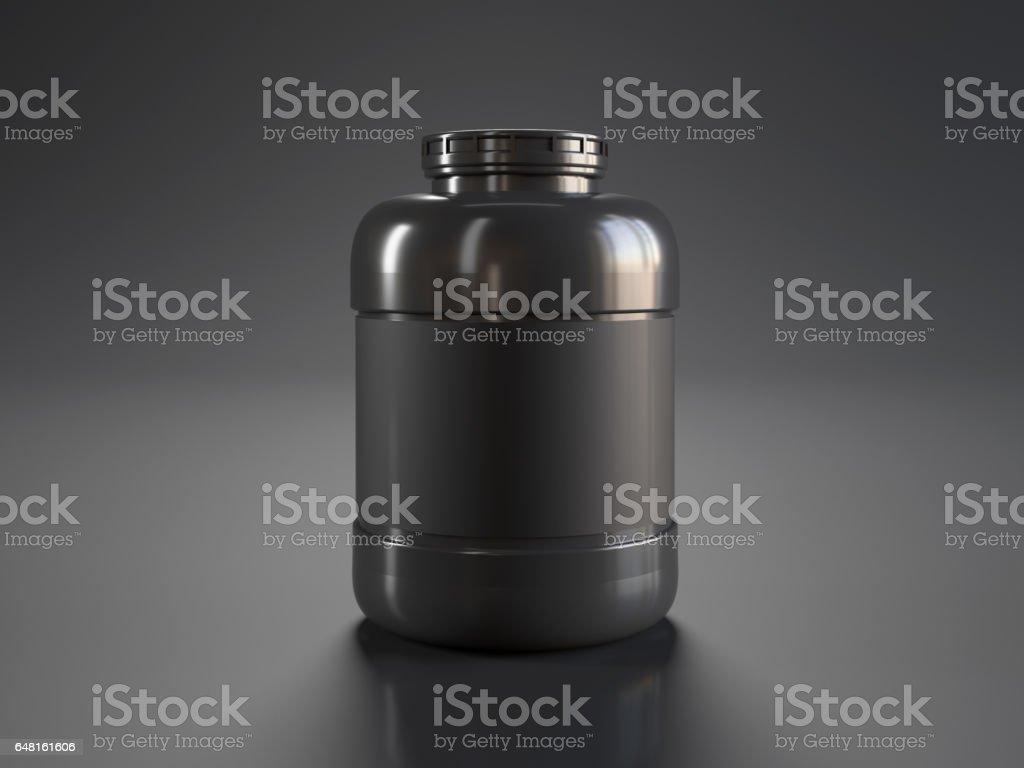 Black protein bottle stock photo