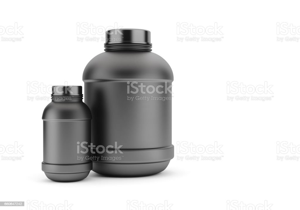 Black Protein Cans stock photo