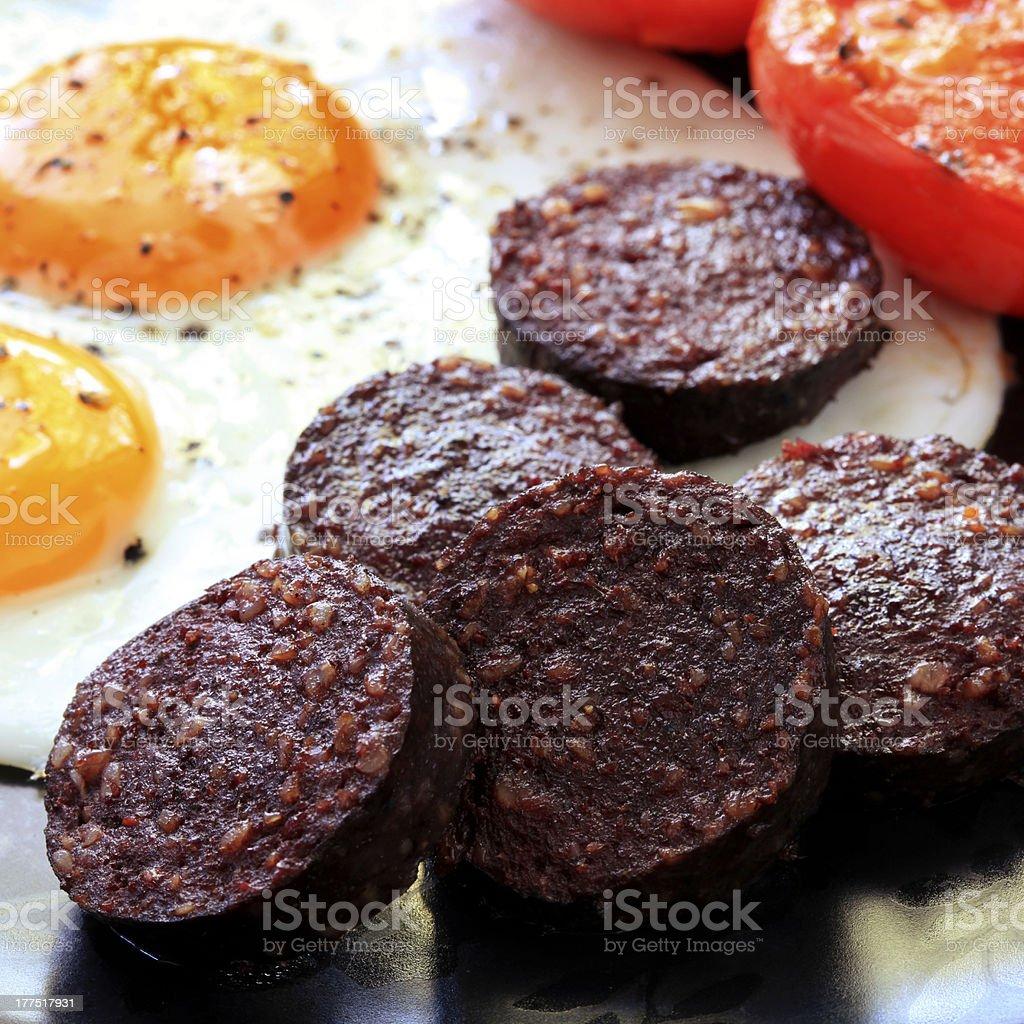 Black Pudding Breakfast stock photo