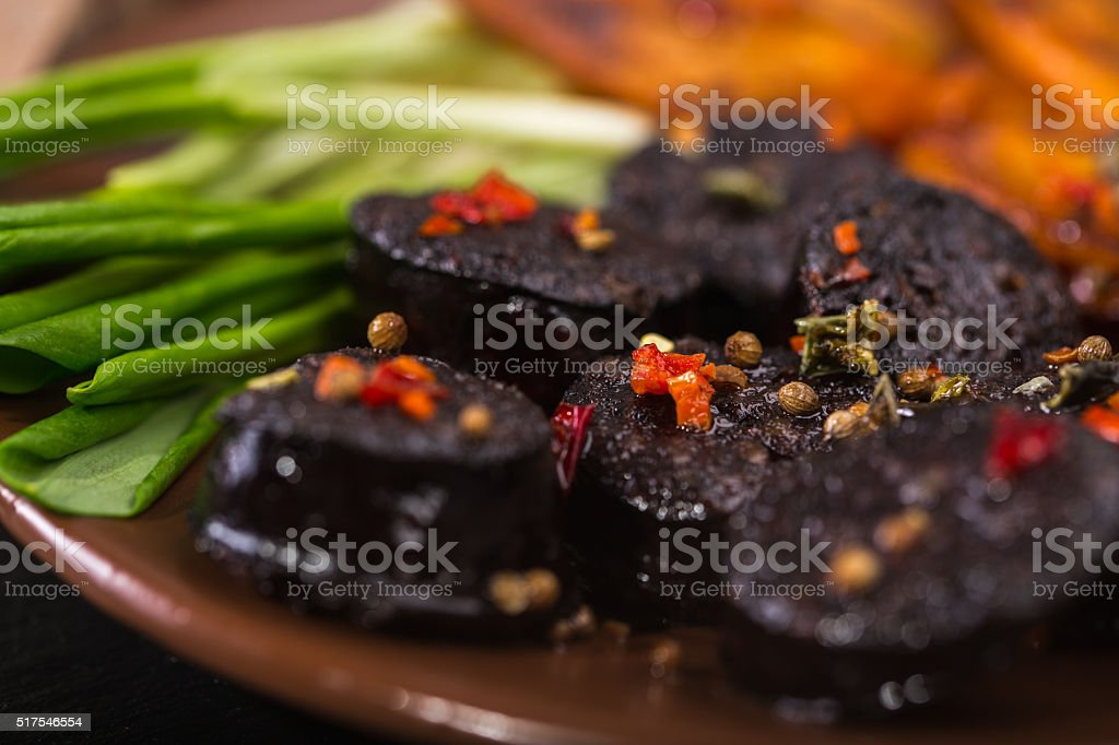 black pudding sausage stock photo