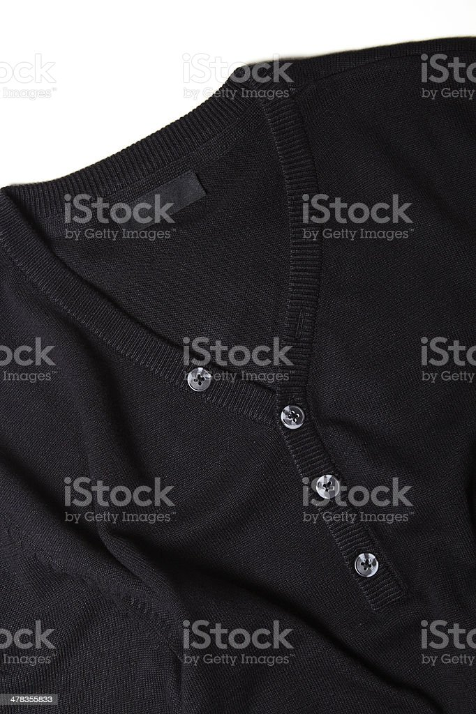 Black pullover shirt in a white background stock photo