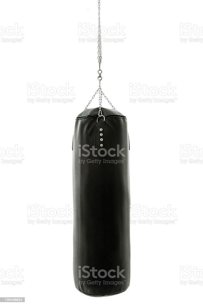 Black punching bag on white background stock photo
