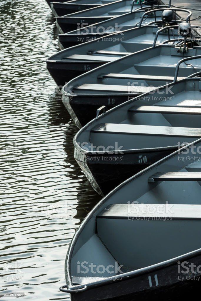 Black Punter Boats Giethoorn stock photo