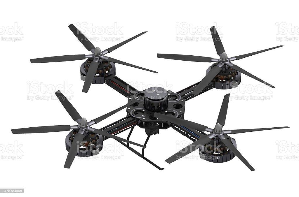 black quadcopter drone with camera stock photo