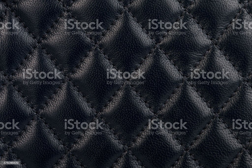 Black quilted leather close-up stock photo
