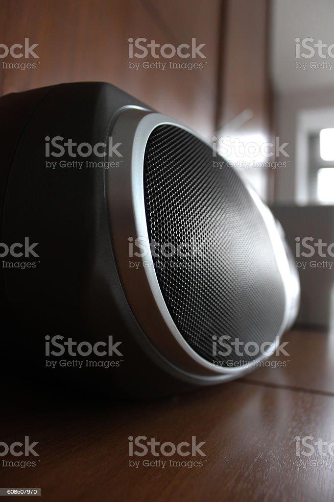 Black radio speaker stock photo