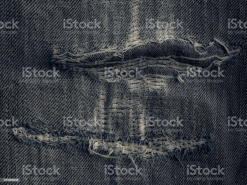 Black ragged jeans grunge background texture stock photo