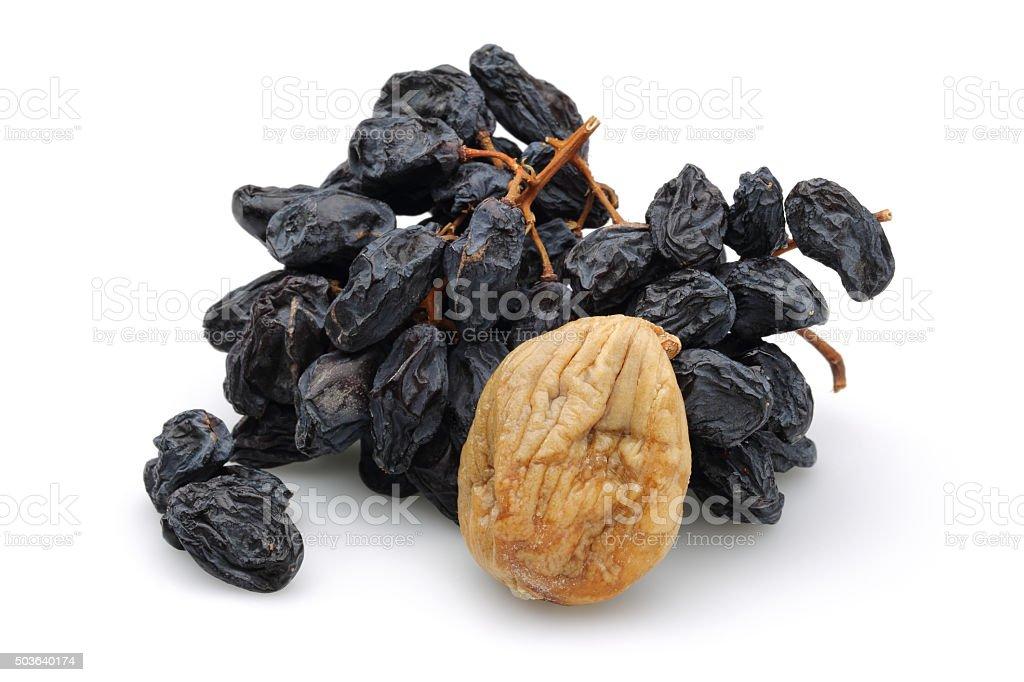 Black Raisin and fig stock photo