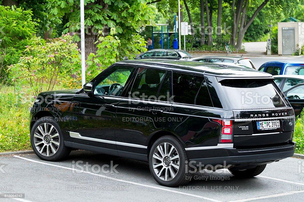 Black Range Rover stock photo