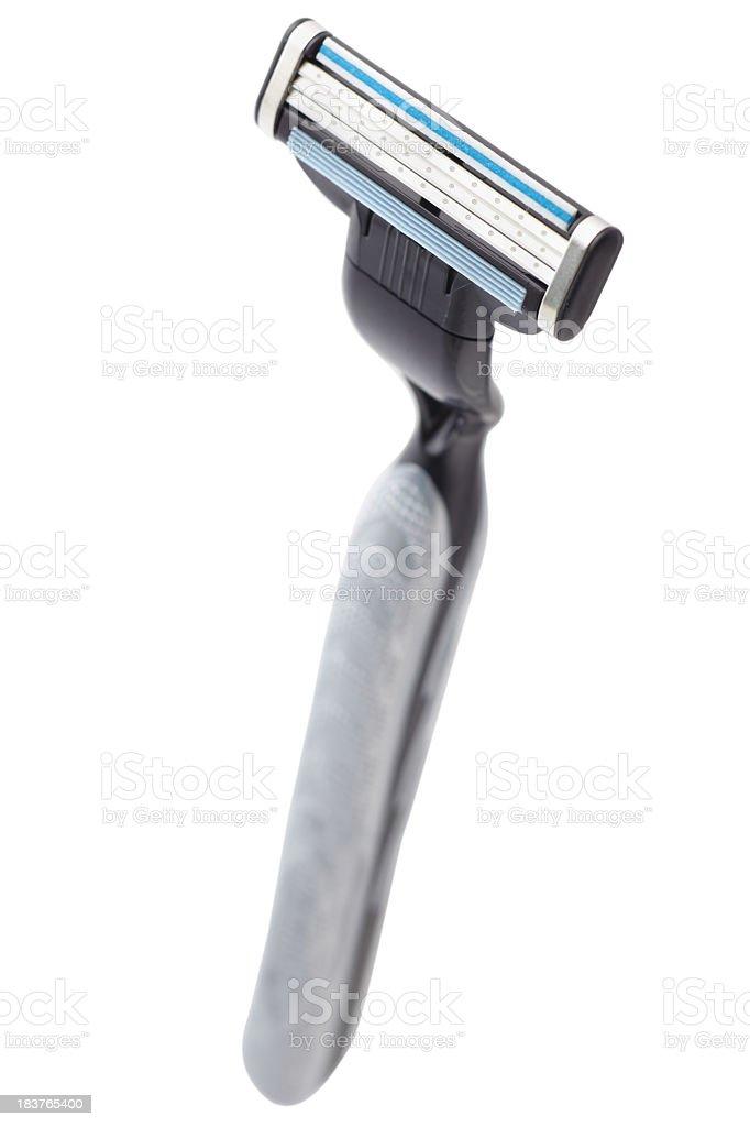 Black razor on white background stock photo