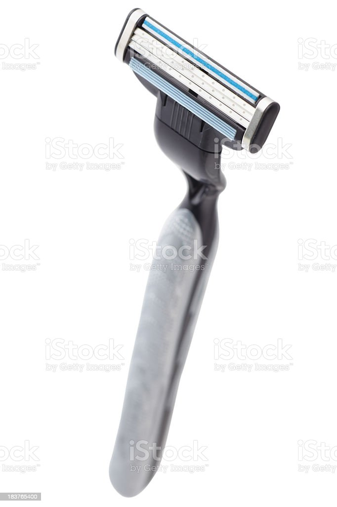 Black razor on white background stock photo