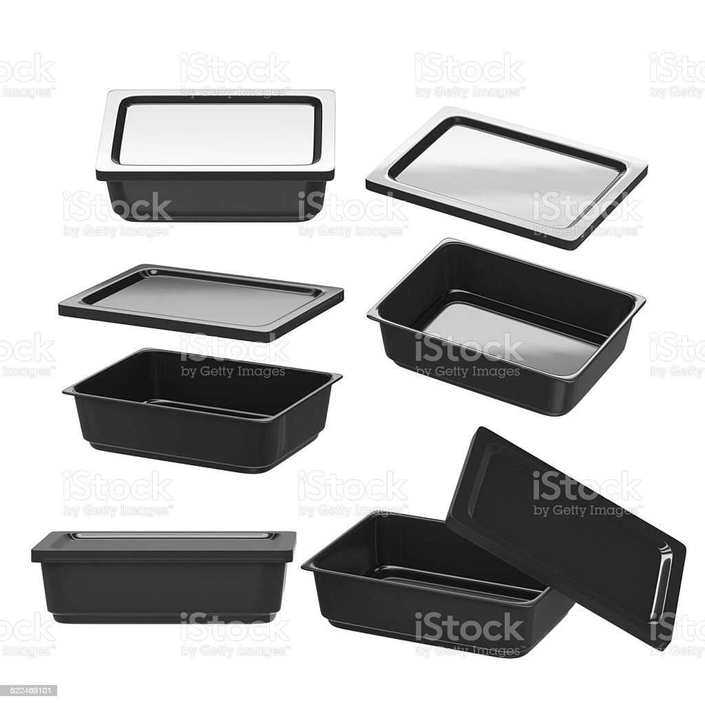 Black rectangle plastic container for food production with clipping path stock photo