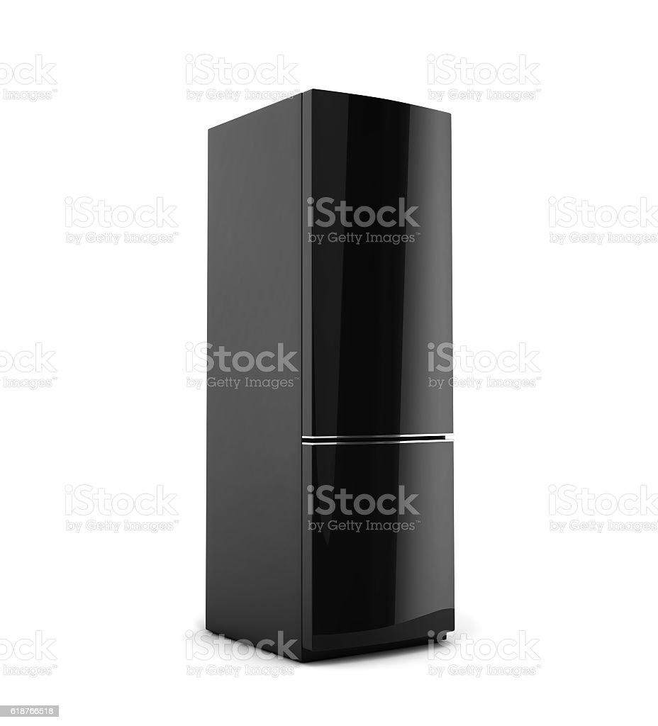 Black refrigerator isolated on white stock photo