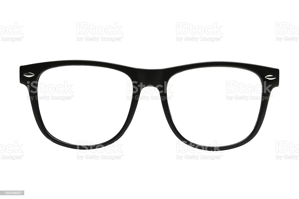 Black retro nerd frames on white background with clipping path stock photo