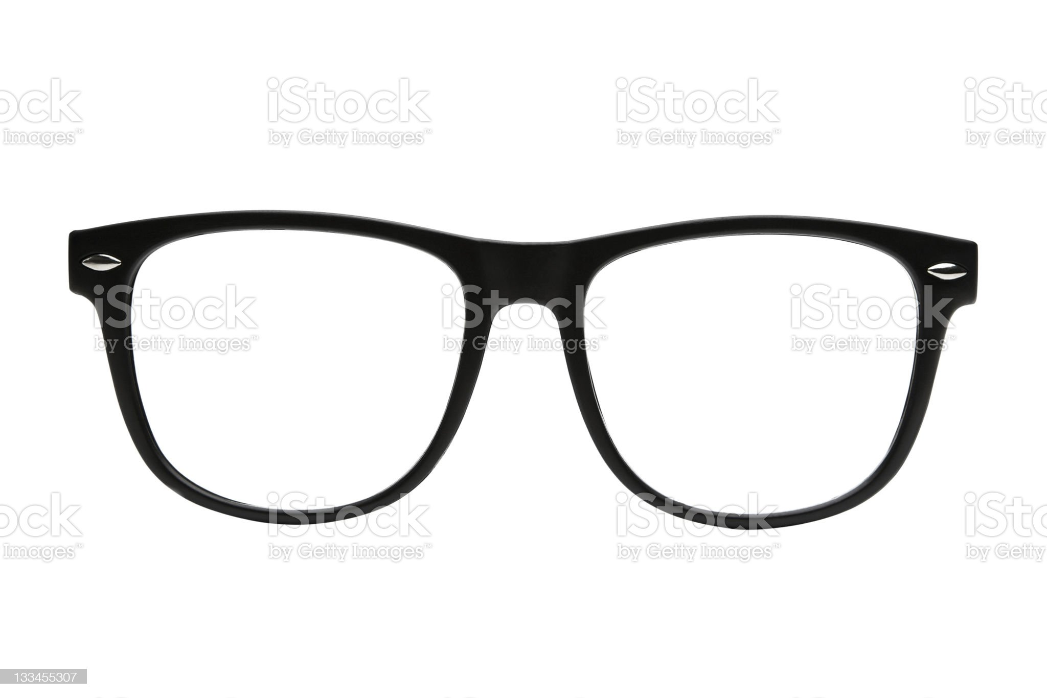 Black retro nerd frames on white background with clipping path royalty-free stock photo