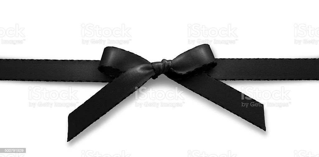 Black ribbon on white background horizontal stock photo