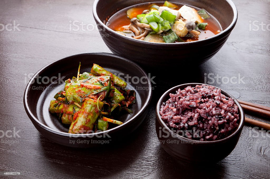 black rice dinner stock photo