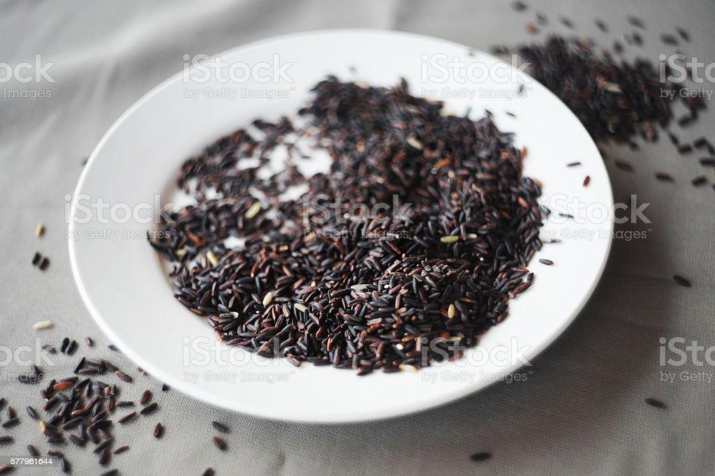 Black Rice on Plate stock photo